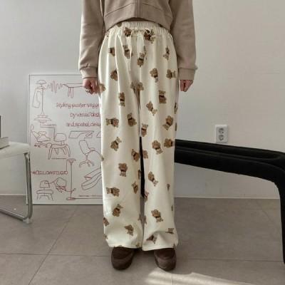 VANILLAMILK レディース パンツ Beard Fleece-lined banding wide pants