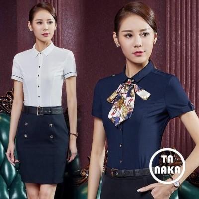 韓国風事務員レディースワイシャツYシャツ半袖ブラウス通勤リボン付き婦人服OLスーツシャツ仕事キャリアフォーマルビジネスオフィススプリング