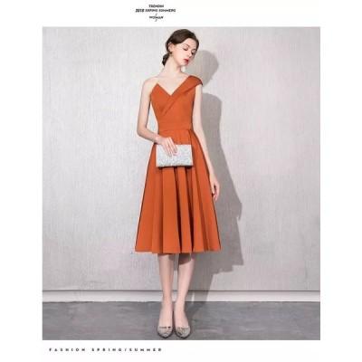 パーティードレス  ワンピースドレス ドレス 橙色 オレンジ モード【XS-XXLサイズ】