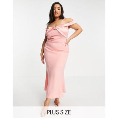 ヤウラ ドレス 大きいサイズ レディース Yaura Plus bardot column midaxi dress in pink エイソス ASOS ピンク