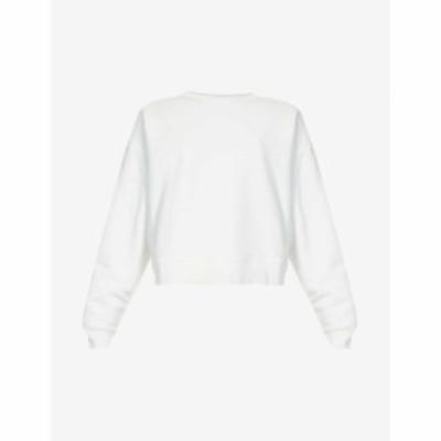 ナイティーパーセント NINETY PERCENT レディース スウェット・トレーナー トップス Cropped organic-cotton jersey sweatshirt WHITE