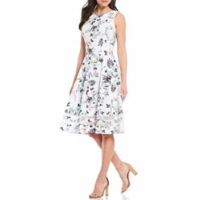 カルバンクライン レディース ワンピース トップス Sleeveless Floral Printed Illusion Hem A-Line Jewel Neck Dress White Multi