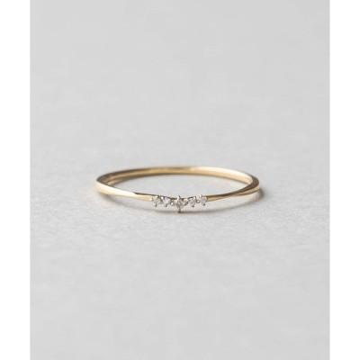 指輪 K18YG レイヤード ダイヤモンド ツイスト リング