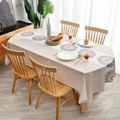 テーブルクロス PVC製 テーブルマット長方形 撥水加工 防水 耐久 汚れ防止 免洗テーブルクロス 汚れ防止 家庭用 業務用 高級感 食卓カバー エスニック 民族