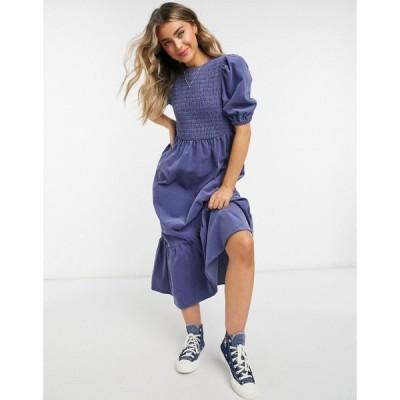 エイソス ASOS DESIGN レディース ワンピース ミドル丈 ワンピース・ドレス Cord Shirred Midi Smock Dress ブルー