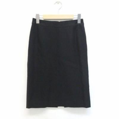 【中古】イネド INED スカート ひざ丈 ミモレ丈 無地 シンプル 2 黒 ブラック /ZB レディース