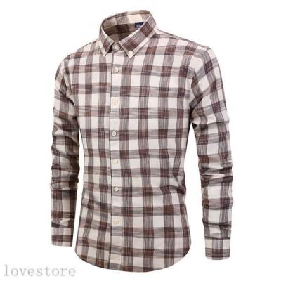 長袖 コットンシャツ メンズシャツ 春秋 スリム韓国風 かっこいい チェック柄 男性用 スリム ボタンダウン 着心地が良い 速乾吸汗 ?量