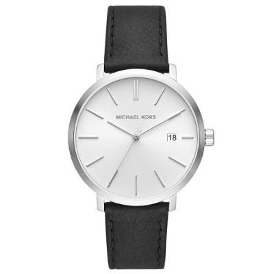 マイケルコース メンズ BLAKE ブレイク シルバー×ブラック レザー 革ベルト MK8674 あすつく 腕時計
