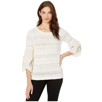 トリバル Tribal レディース ニット・セーター トップス Fancy Sweater w/ Embroidered Sleeve Combo Winter White