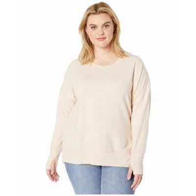 ジョッコーアクティブ パーカー・スウェットシャツ アウター レディース Plus Size Fleece Sweatshirt with Thumbholes Oatmeal Heather