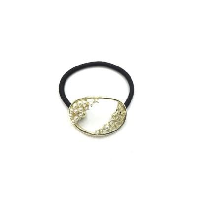 ヘアーアクセサリー ヘアゴム メタルゴムポニー ラインストーン キラキラ ゴールド W4cm PMT-18001