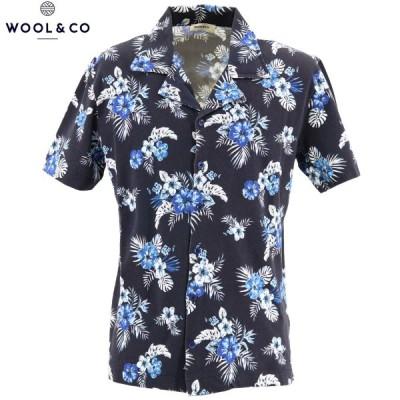 ウールアンドコー WOOL&CO メンズ コットン 鹿の子 半袖 花柄 アロハシャツ WO2285 228-14427 69(ネイビー)