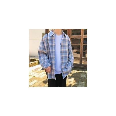長袖シャツ メンズ 長袖 シャツ メンズシャツ 折り襟 チェック柄 カジュアルシャツ ゆったり 通学 オシャレ カジュアル 秋物 新作 送料無料