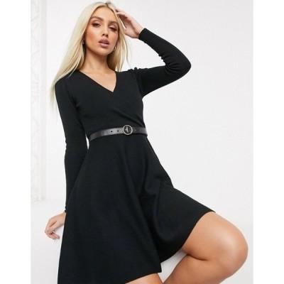 リプシー レディース ワンピース トップス Lipsy v neck skater dress in black Black