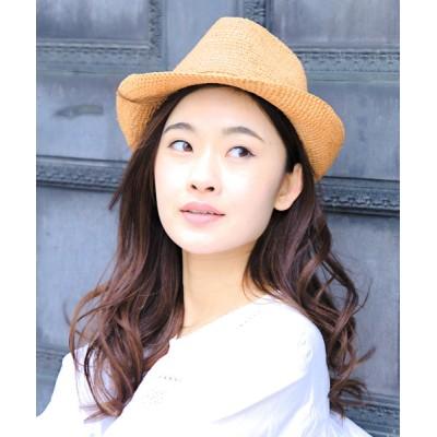 14+(ICHIYON PLUS) / ラフィアこま編み中折れハット WOMEN 帽子 > ハット