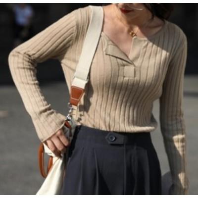 トップス セーター カジュアル シンプル アプリコット グレー ニット ウール 綿 無地 Vネック 長袖 秋冬 大きいサイズ ゆったり 大人可愛