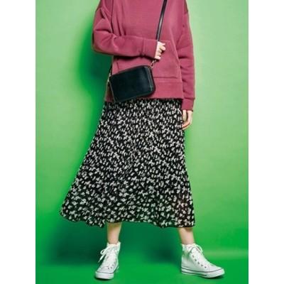 【大きいサイズ】【20冬新着】【L-3L】裾消しプリーツロングスカート 大きいサイズ スカート レディース