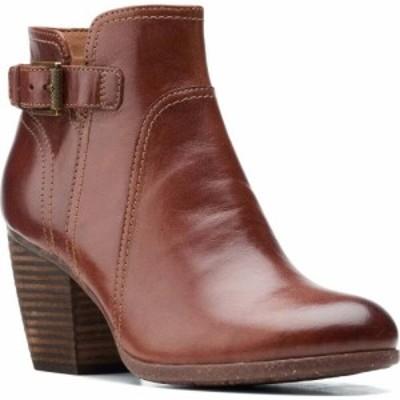 クラークス CLARKS レディース ブーツ シューズ・靴 Bergen Vibe Bootie Dark Tan Leather