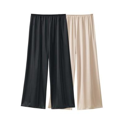 日本製 吸汗速乾シンプルペチパンツ75cm丈2枚組(M) (ペチパンツ・ペチコート)Petticoat