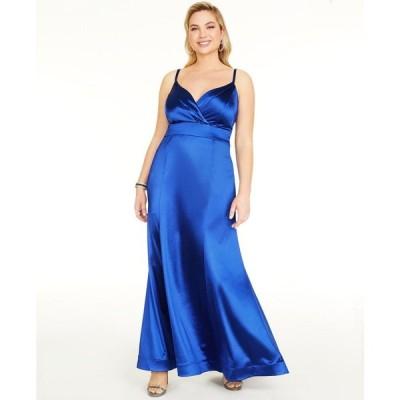 ティーズミー Teeze Me レディース パーティードレス 大きいサイズ ワンピース・ドレス Trendy Plus Size Satin Gown Royal