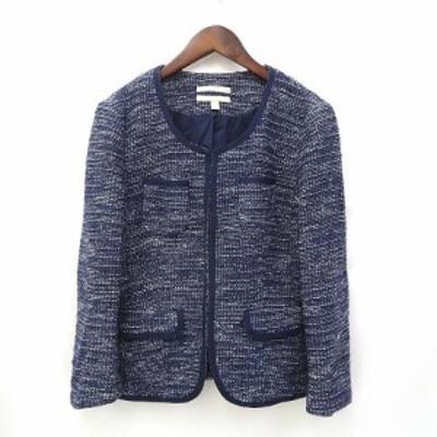【中古】バナナリパブリック セットアップ 4 6 紺 ネイビー ノーカラー ジャケット スカート フロントホック 上下