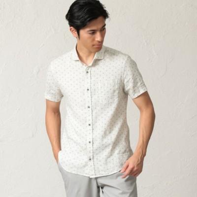 麻プリントシャツ