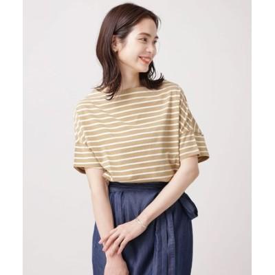 WEB限定/ボーダーワイドドロップTシャツ 半袖