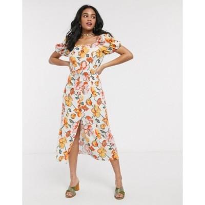 ムーンリバー レディース ワンピース トップス Moon River floral puff sleeve midi dress with perspex belt