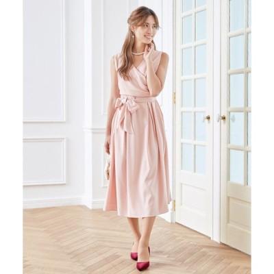 ドレス フロントリボンミモレ丈ワンピースドレス【結婚式・お呼ばれ・オケージョン・フォーマル対応ワンピースドレス】