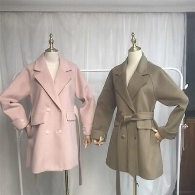 秋色追加 両面の着用 チェスターコート 女性 中長セクション ラペル ゆったりする 長袖 暖かい ウィンター カジュアル 気質 スリム 学院風 ベルト付き