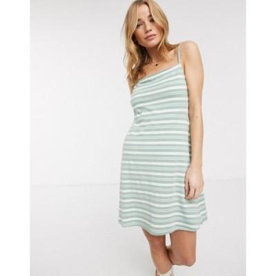 エイソス レディース ワンピース トップス ASOS DESIGN square neck stripe mini dress in sage