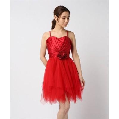 ドレス サテンチュール重ねふんわりスカートパーティードレス