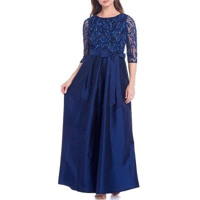 ピサッロナイツ レディース ワンピース トップス Sequin Bodice 3/4 Illusion Sleeve Tie Waist Taffeta Tea Length Gown Navy