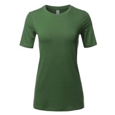 レディース 衣類 トップス A2Y Women's Basic Solid Premium Cotton Short Sleeve Crew Neck T Shirt Tee Tops Army Green S