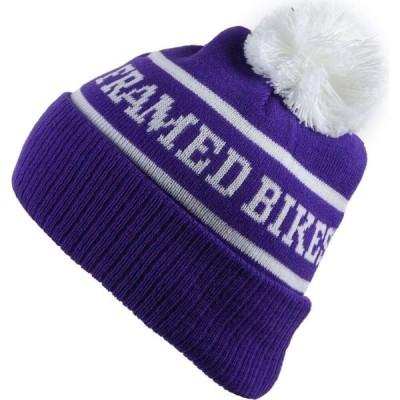 フレームド Framed メンズ ニット ビーニー 帽子 Ball Beanie Purple/White