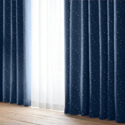 厚地カーテン キララ ネイビー(1枚) 巾100cm×丈105cm