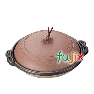 庵陶板 φ18深皿 素焼き茶 1個 M10-466 アルミ合金製 フッ素3コート