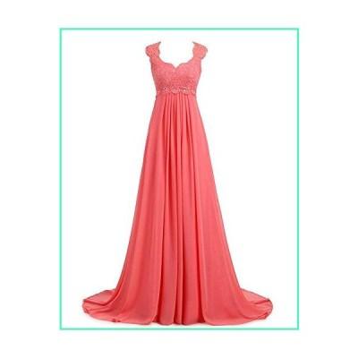 Erosebridal Boho Style Lace Chiffon Prom Dress Party Gowns Long Second Wedding Dresses Size 4 Coral並行輸入品