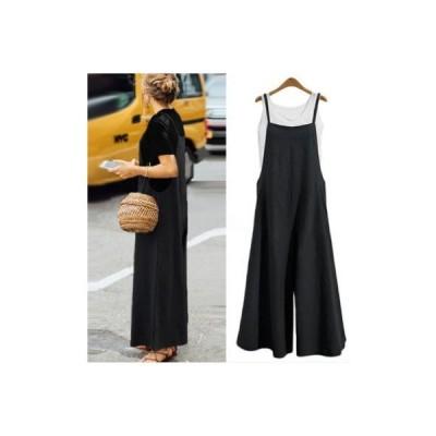 M ブラック レディース サロペット オールインワン ワイドパンツ ガウチョパンツ ガウチョ ワンピース ロング丈 キャミ スカート ゆったり かわい