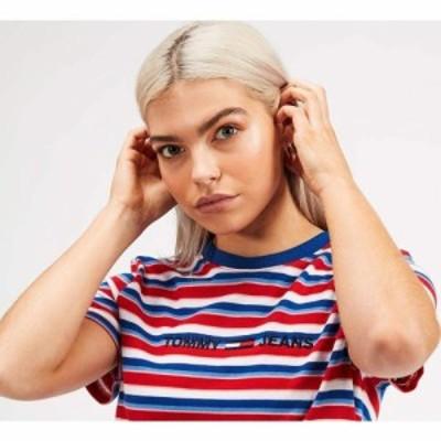 トミー ジーンズ Tommy Jeans レディース Tシャツ トップス Linear Logo Stripe T-Shirt Race Red