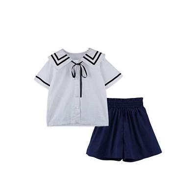 子供服 女の子 セットアップ ブラウスショートパンツ リボン キュロット フォーマル セーラー ディリー 学院風