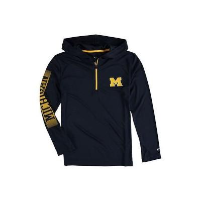 カレッジ NCAA アメリカ USA 大学 スポーツ コロシアム Colosseum Michigan Wolverines ユース ネイビー Sleet Quarter-Zip Windshirt パーカー