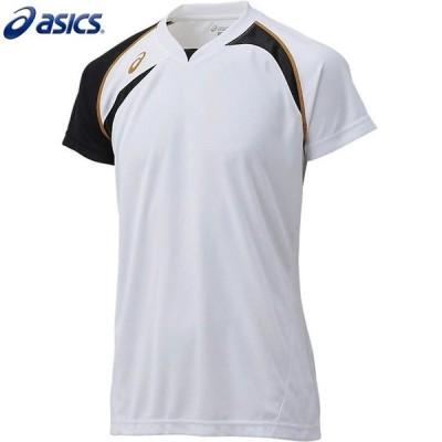 asics/アシックス XW1318 バレーボールウェア メンズ・ユニセックス ゲームシャツHS ホワイト×ブラック