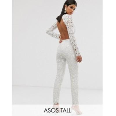 エイソス ASOS EDITION レディース オールインワン ジャンプスーツ ワンピース・ドレス Tall sequin cutwork jumpsuit with open back ホ