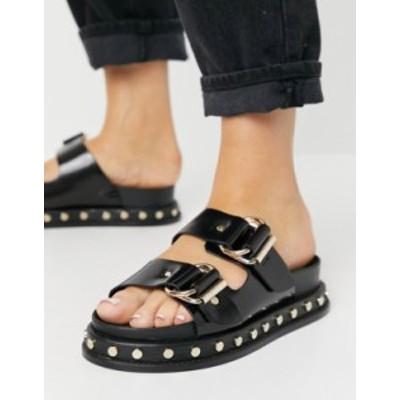 エイソス レディース サンダル シューズ ASOS DESIGN Foster premium leather chunky mules in black Black