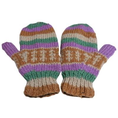 手袋 アジアン衣料 ネパール・ウール・ミトン手袋 裏フリース付き38 クリックポスト選択 送料200円