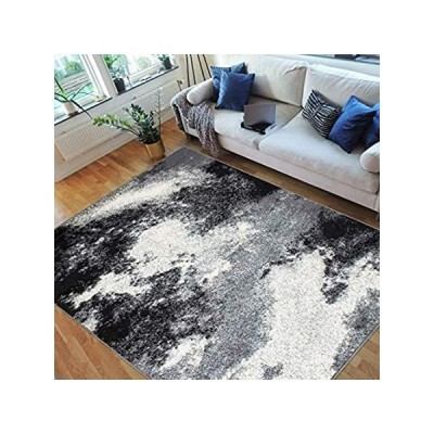 HR Abstract Rugs Clouds Pattern Carpet Gray Black White (5' X 7')