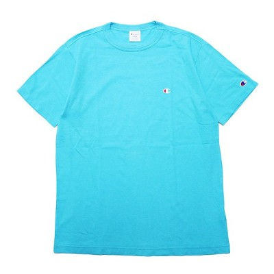 CHAMPION チャンピオン 半袖Tシャツ BASIC S/S TEE メンズ ストリート ベーシック 定番 ワンポイントロゴ ウォッシュ加工 C3-P300 アクアブルー 水色 M L XL