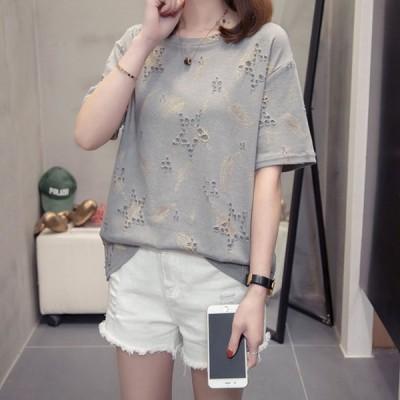 Tシャツレディースきれいめ40代春夏上品半袖Tシャツブラウス綿星柄トップスオシャレ韓国風ゆったりカットソー大きいサイズTシャツ2色