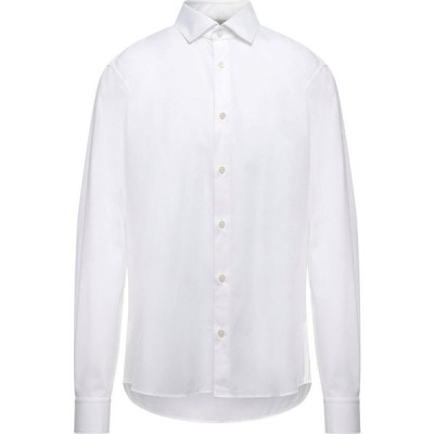 ZZEGNA メンズ シャツ トップス solid color shirt White
